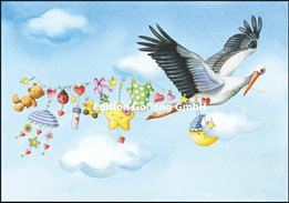 """Mila Marquis Postcard /""""Stork with Baby Carriage 14 x 14 BIRTH Baby Patent Greeting Card"""