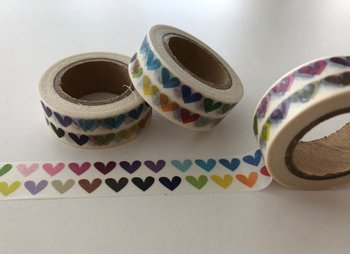Washi Masking Tape | 2 Rows of Rainbow Hearts