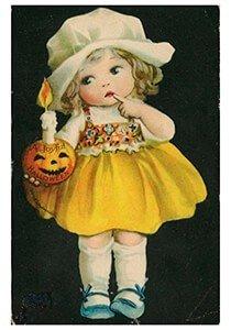 Victorian Halloween Postcard | A.N.B. - Meisje met een pompoen en een kaars