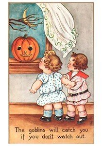 Victorian Halloween Postcard | A.N.B. - The goblins will catch you if you don't watch out