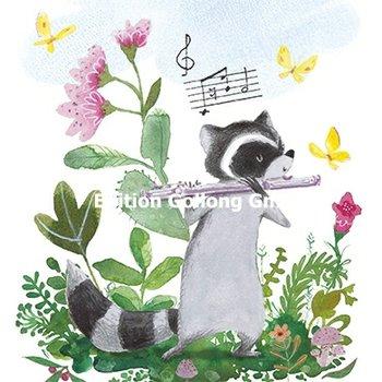 Tatjana Mai-Wyss Postcard | Raccoon with flute