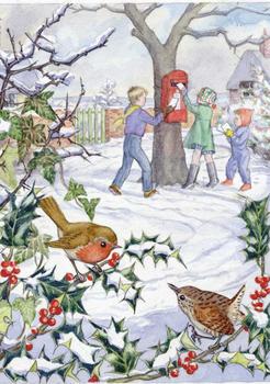 Postcard Molly Brett | Robin Finds Christmas