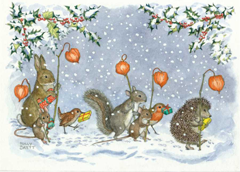Postcard Molly Brett | Animals with Chinese lanterns carrying presents