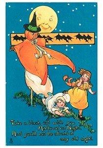 Victorian Halloween Postcard | A.N.B. - Halloweentafereel