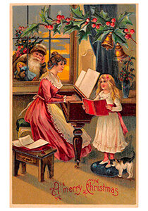 Postcard   Kerstman kijkt hoe moeder en kind muziek maken