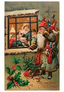 Postcard   Kerstman met cadeaus voor een huis