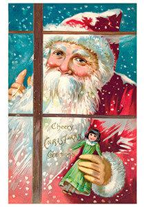 Postcard   Kerstman met een popje in zijn hand kijkt door het raam naar binnen