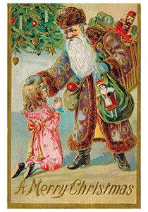 Postcard   Kerstman brengt cadeaus bij een meisje