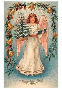 Postcard   Engel met kerstboom en een boek
