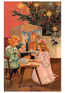 Postcard   Kinderen spelen bij de kerstboom