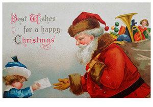 Postcard   Kerstman neemt een verlanglijstje in ontvangst