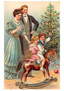 Postcard   Gezin viert kerst voor de kerstboom
