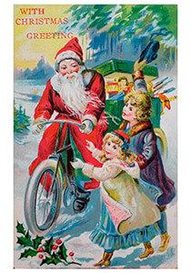 Postcard   Kerstman op fiets met cadeaus