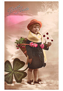 Postcard   Jong meisje met envelop in een winterlandschap