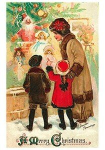 Postcard   Moeder staat met kinderen bij de kerstboom