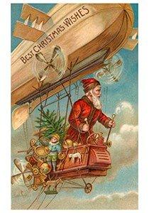 Postcard   Kerstman vliegt door de lucht met cadeaus