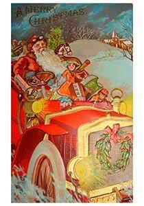 Postcard   Kerstman rijdt in de auto met cadeaus