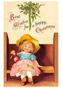 Postcard   Meisje met een pop (Happy Christmas)