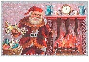 Postcard   Kerstman met cadeaus bij de open haard
