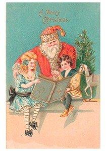 Postcard   Kinderen lezen in een boek en achter hun staat de kerstman