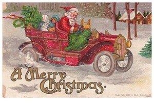 Postcard   Kerstman rijdt in zijn auto met cadeaus (A merry christmas)
