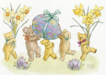 Postcard Molly Brett | Five Teddy Bears with Daffodils and Easter Eggs
