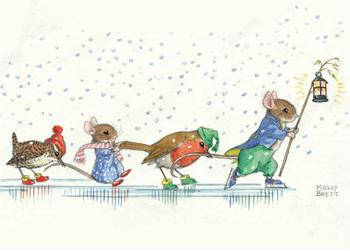 Postcard Molly Brett | Skating mice and birds