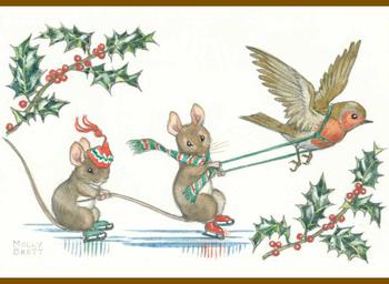 Postcard Molly Brett | Two mice ice skating