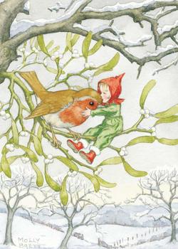 Postcard Molly Brett | Christmas robin and pixie