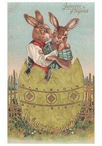 Victorian Postcard | A.N.B. - Twee paashazen in een ei
