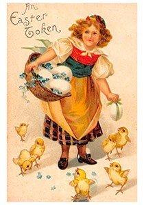 Victorian Postcard | A.N.B. - Meisje met paaseieren en kuikentjes