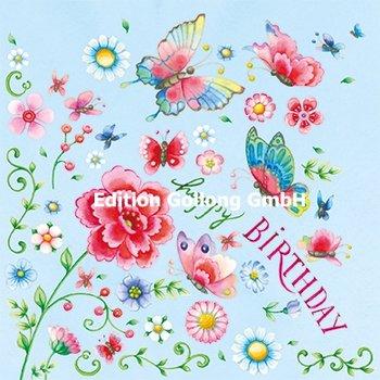 Nina Chen Postcard | Happy Birthday (flowers and butterflies)