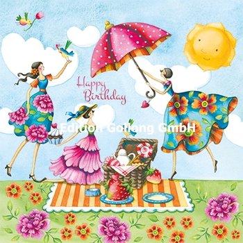 Nina Chen Postcard | Happy Birthday (Ladies with Picnic)