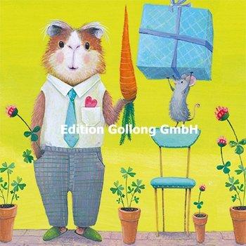 Mila Marquis Postcard   Muis brengt een geschenk voor hamster