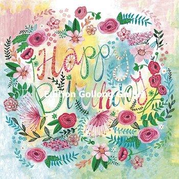 Cartita Design Postcard   Happy Birthday (Flowers)