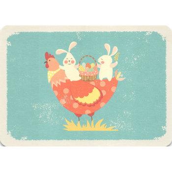 Postcard Gutrath Verlag | Easter bunnies and chicken