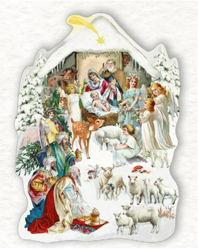 Shaped Postcard Edition Tausendschoen Specials   Nativity scene WITH ENVELOPE