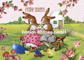 Carola Pabst Postcard | Frohe Ostern (Vintage Hasenpaar)