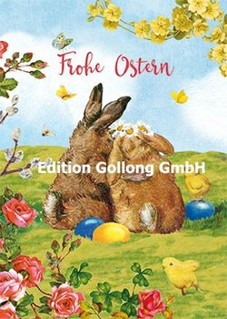 Carola Pabst Postcard | Frohe Ostern (Vintage Hasen)
