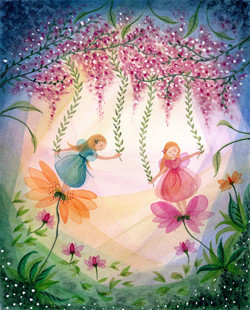 Postcard   Fairies With Flowers