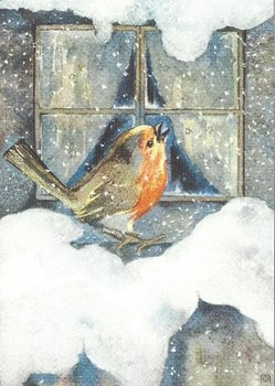 Postcard Mili Weber - Robin in the snow