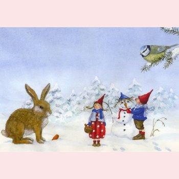 Postcard Daniela Drescher | Pippa en Pelle in de sneeuw