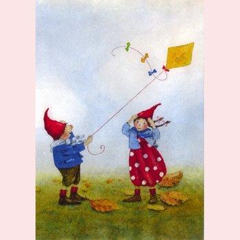 Postcard Daniela Drescher | Pippa en Pelle in de herfstwind