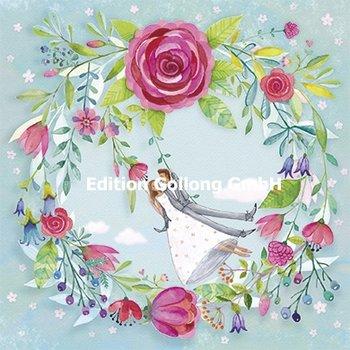 Mila Marquis Postcard   Pasgetrouwden op een schommel