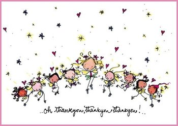 Juicy Lucy Designs Postcard - Oh thankyou, thankyou, thankyou!