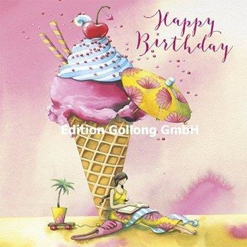 Nina Chen Postcard   Happy birthday (Woman with icecream)