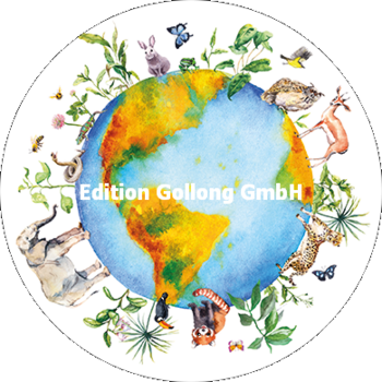 Round Postcard   Earth with animals