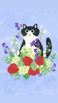 Postcard | Flower Kitty LILAC with black and white cat