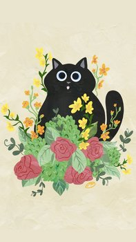 Postcard | Flower Kitty BEIGE with black cat