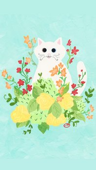 Postcard | Flower Kitty BLUE with white cat